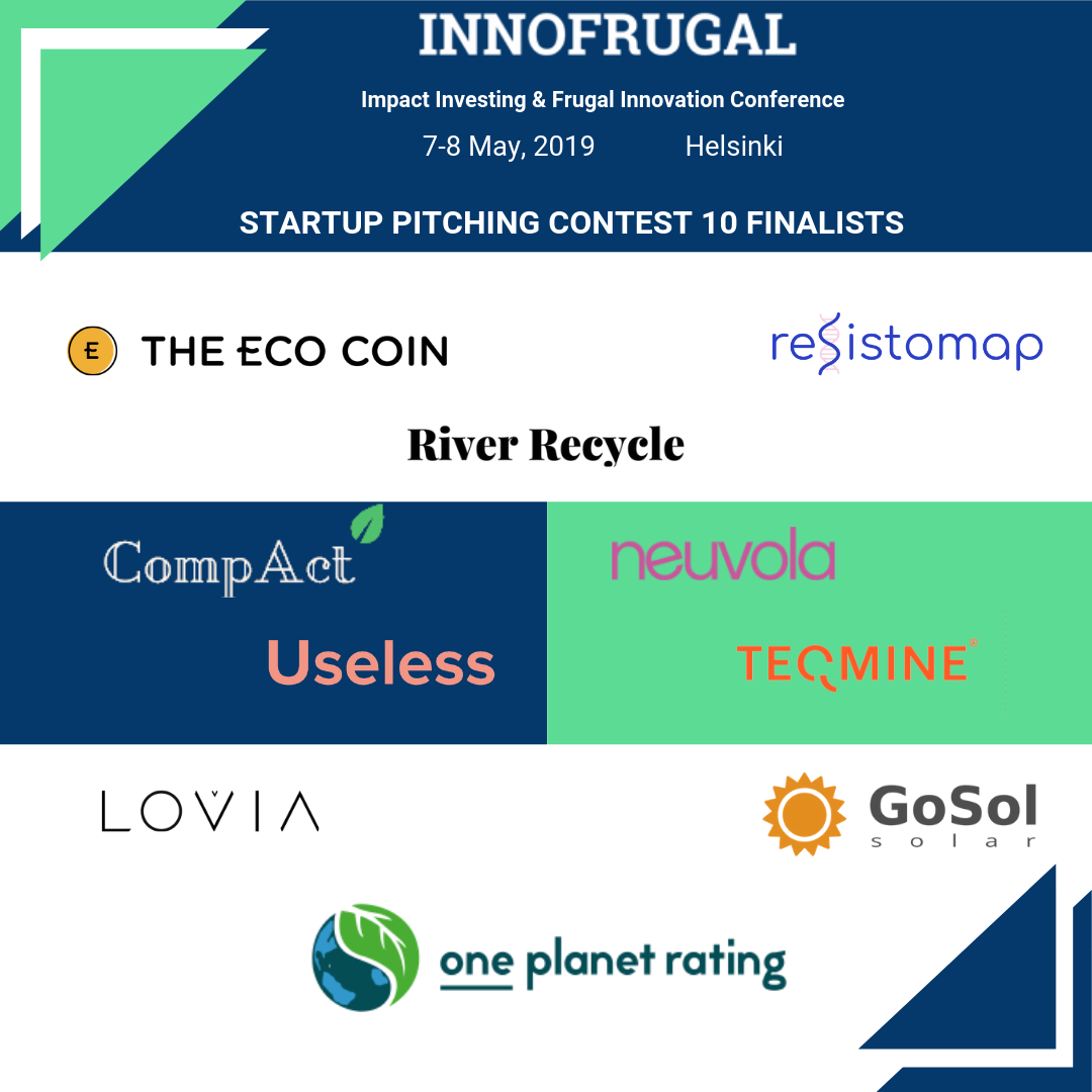 Announcing The 10 Finalists  Selected For The Startup Pitching Contest At InnoFrugal 2019